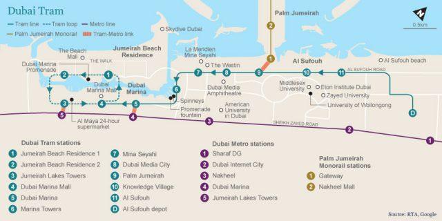 Dubai Tram Map New