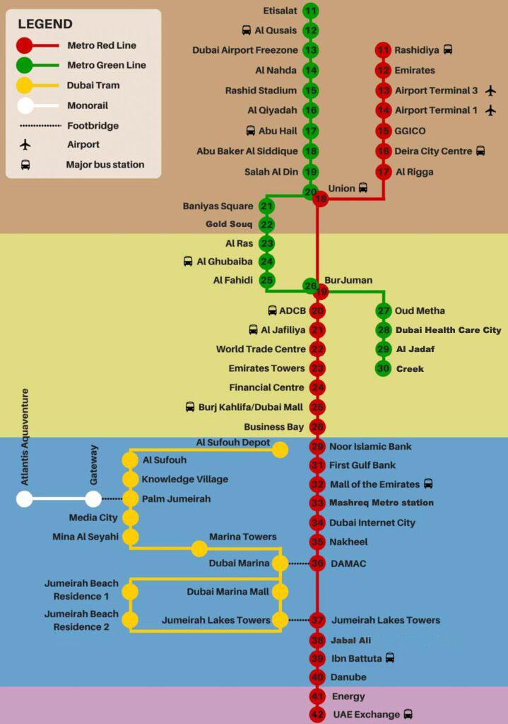 dubai metro green line map