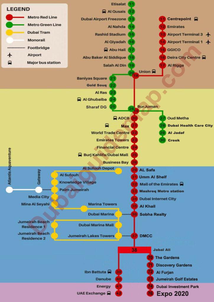 dubai metro map green line, dubai metro red line map with expo 2020